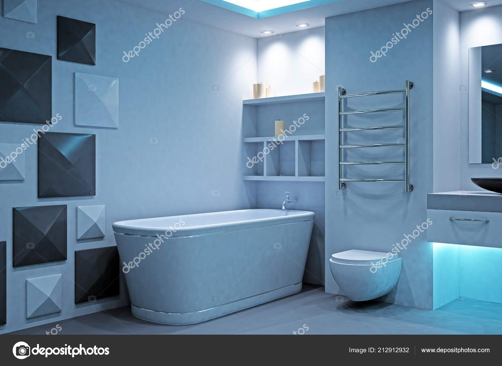 Interior ba o futurista iluminado limpio concepto estilo dise o render foto de stock peshkov Diseno interior futurista