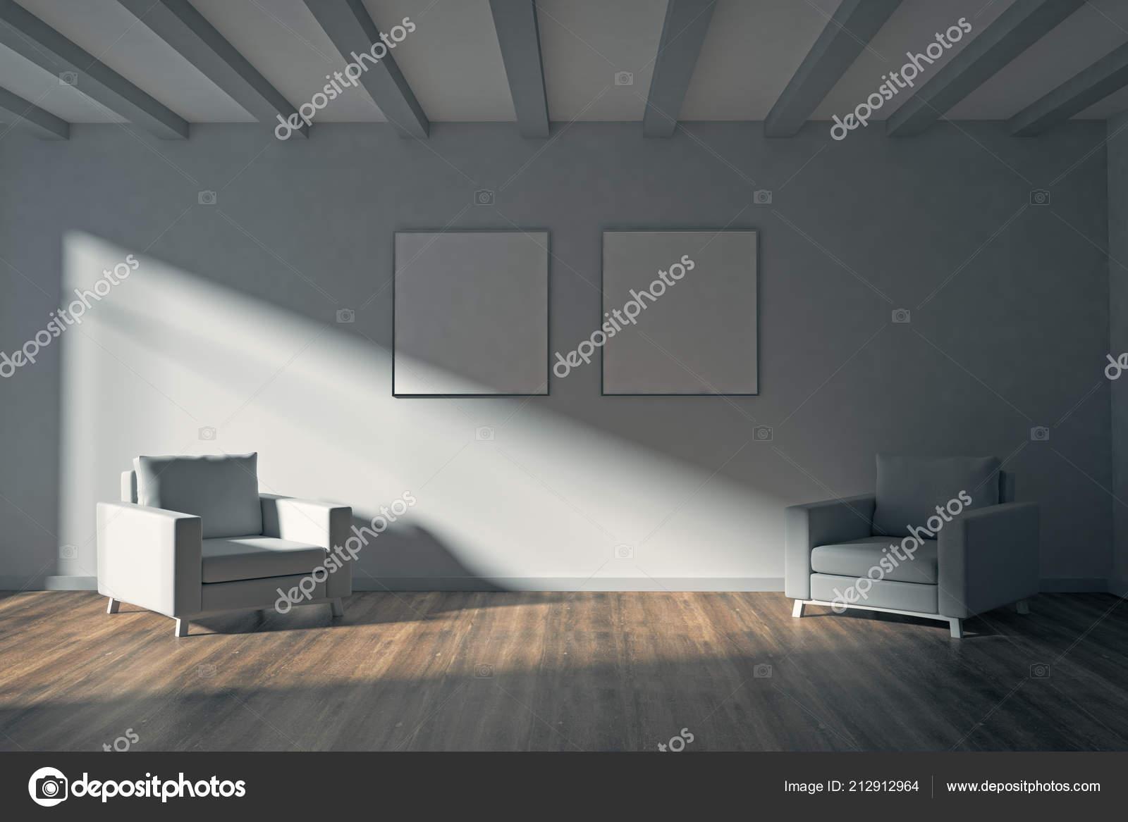 Intérieur Salon Contemporain Avec Vides Affiches Sur Mur Les Meubles ...