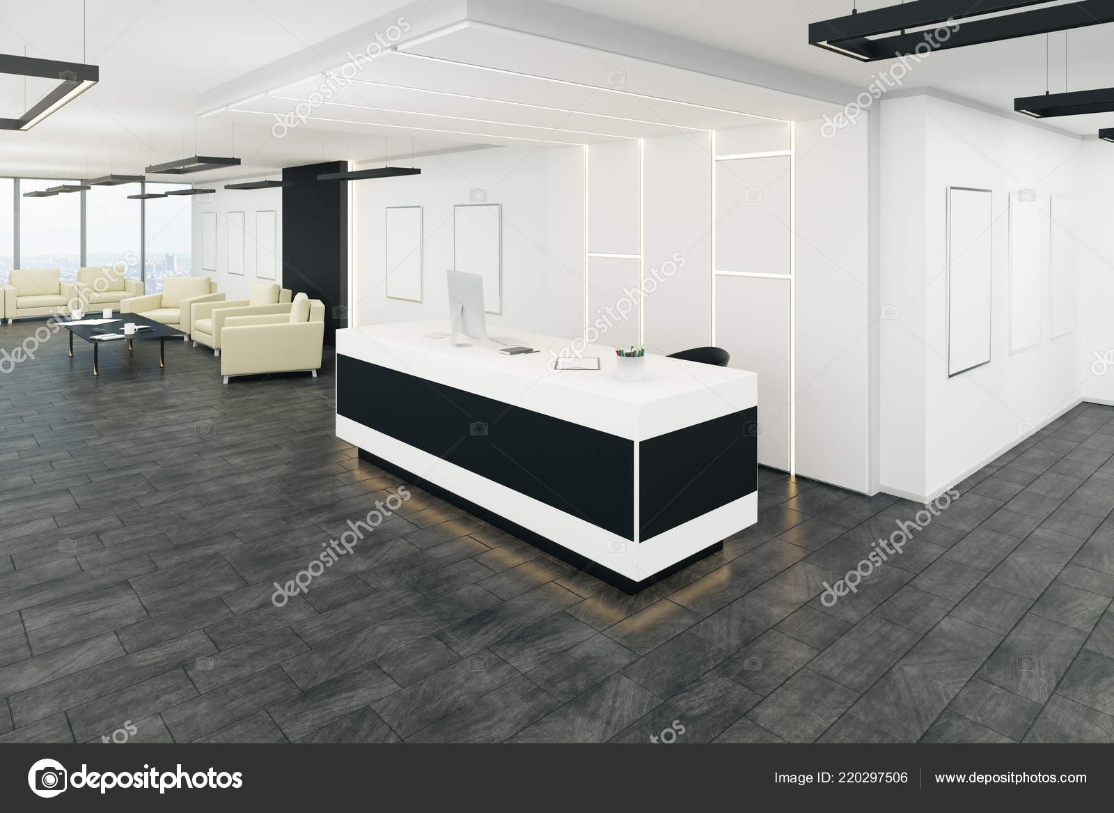 office lobby designs architecture modern office lobby interior reception desk rendering stock photo