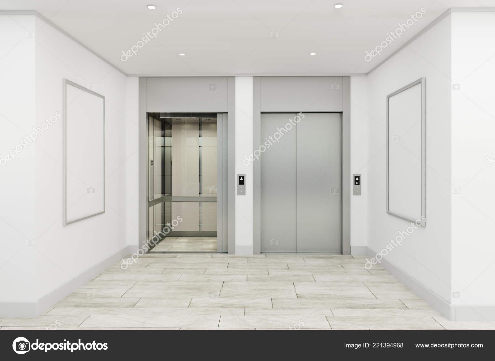 Modern Office Lobby Interior Elevators Empty Billboard Mock