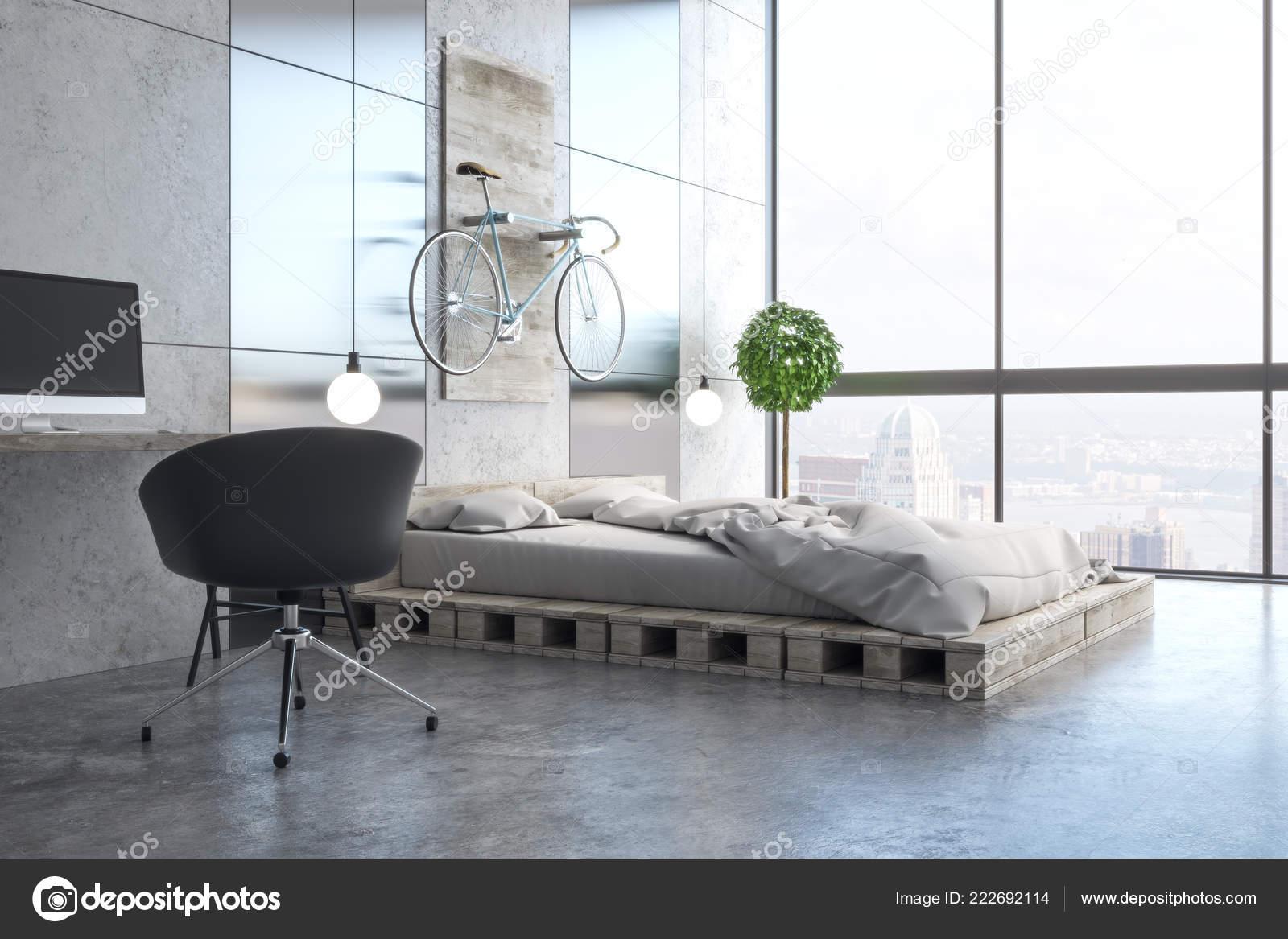 Interiore Luce Camera Letto Con Posto Lavoro Mobili Oggetti ...
