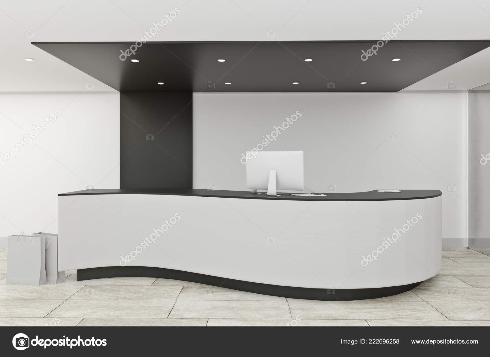 Stylish Office Lobby Interior Reception Desk Entrance Concept Rendering U2014  Stock Photo