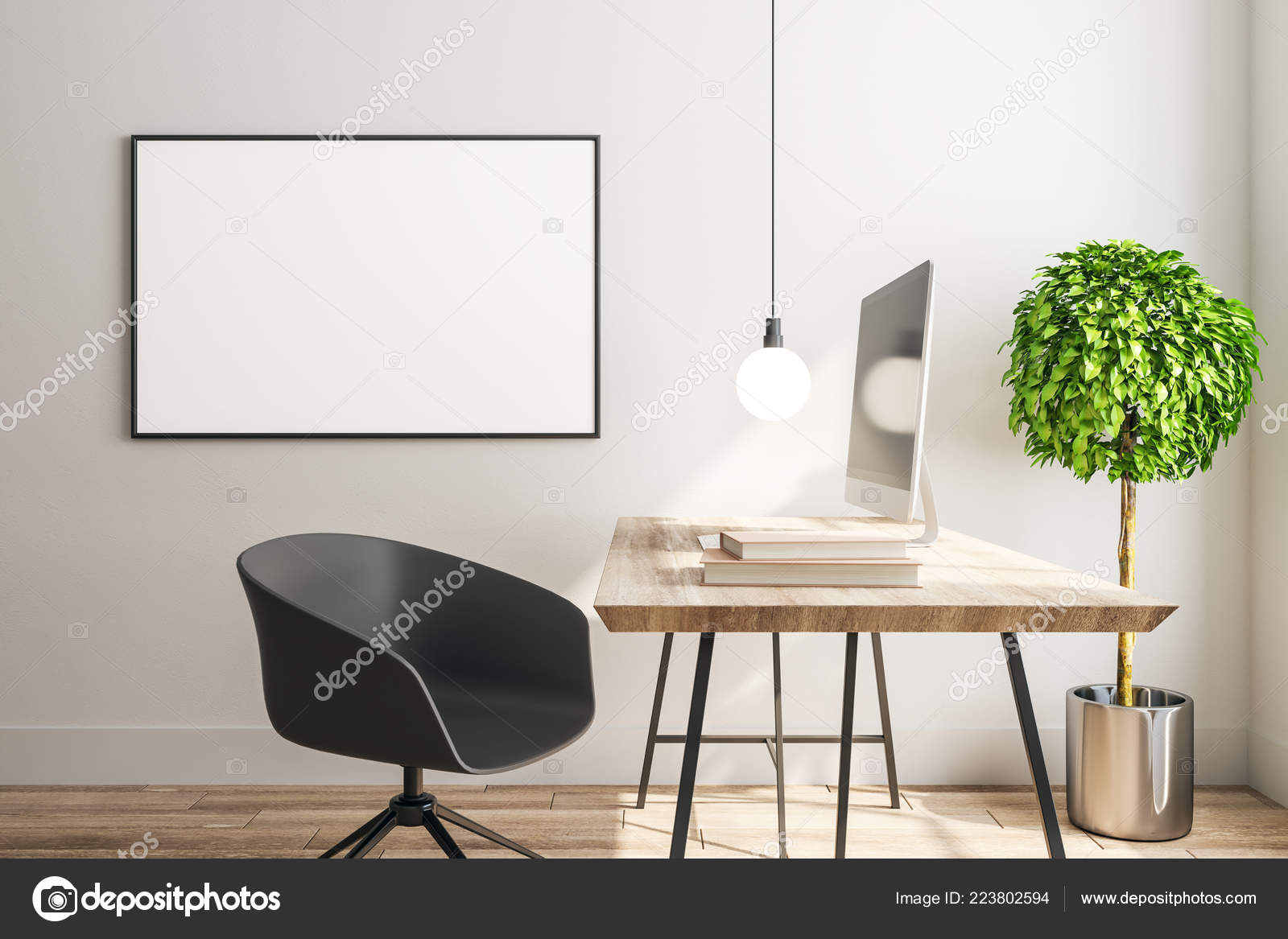 Modern Interior Designer Workplace Empty Poster Wall Mock Rendering