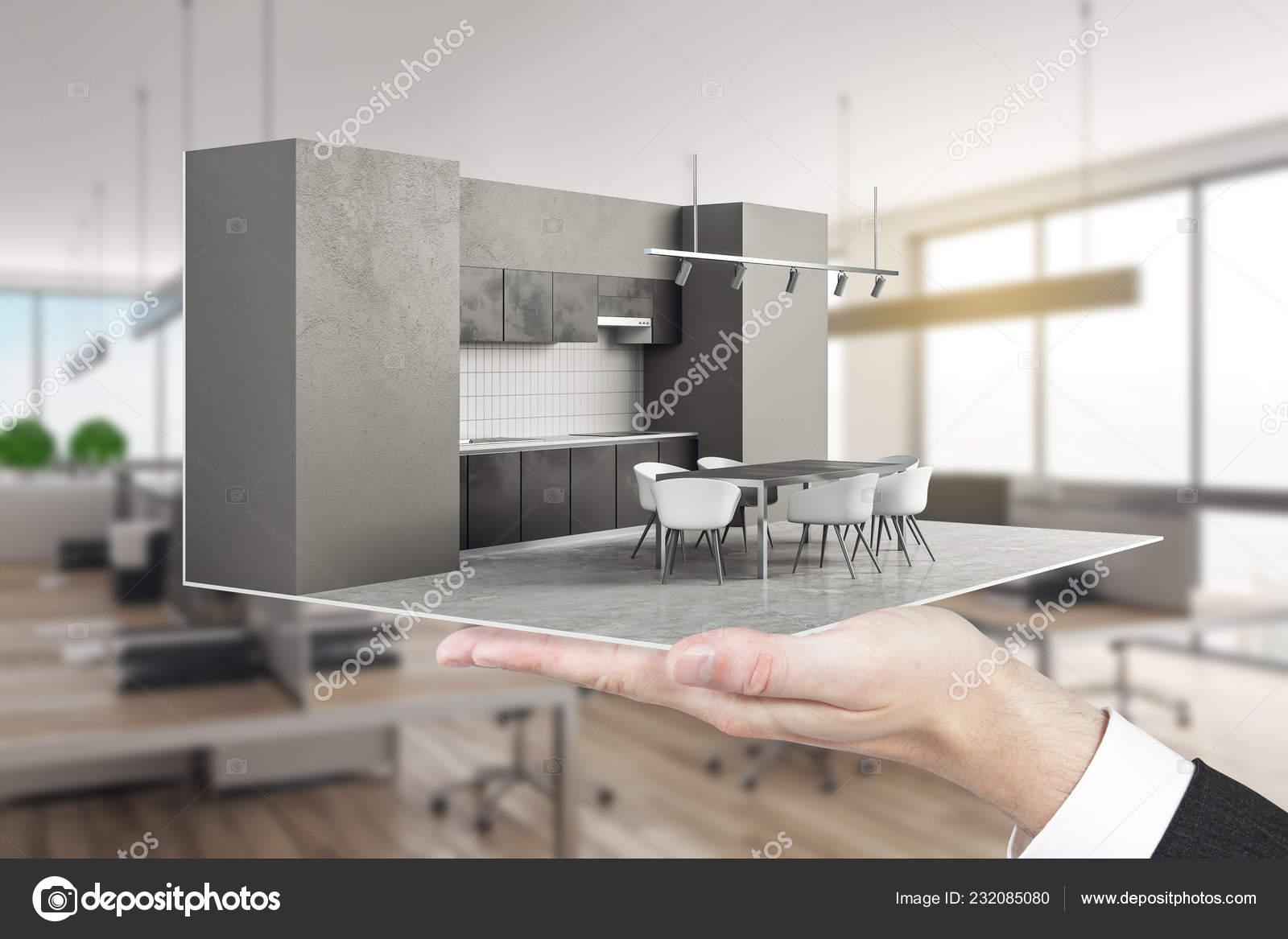 Businessman Holding Contemporary Kitchen Interior Blurry