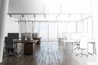 Hand drawn office interior with city view. Design and engineering concept. 3D Rendering