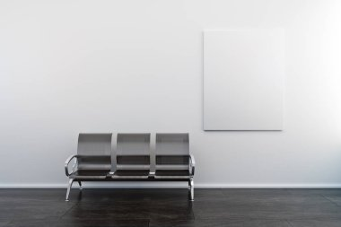 Empty poster and bench in concrete interior. Gallery and ad concept. Mock up, 3D Rendering