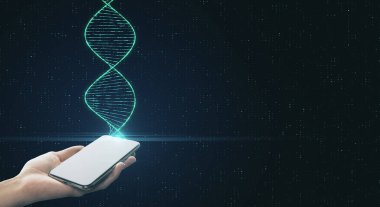 Genetic engineering and analysis concept with digital dna spiral and human hand with smartphone.