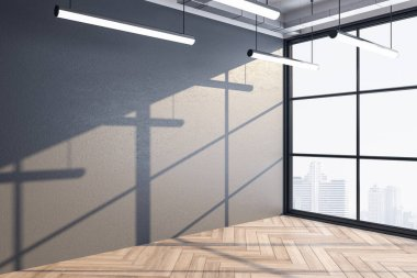Office hall interior with copy space on gray wall and city view. Workplace and lifestyle concept. Mock up. 3D Rendering