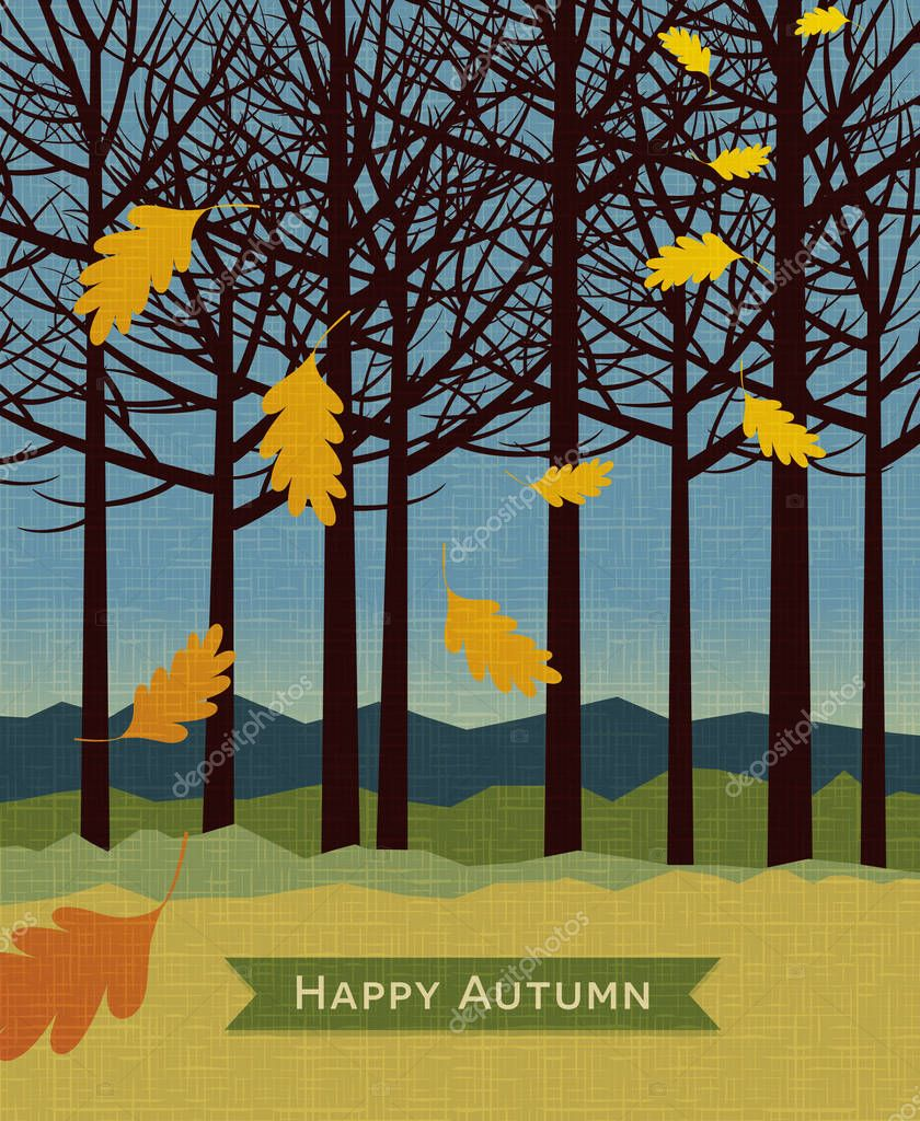 autumn background with trees and falling leaves for backgrounds, web banners, print designs. Vector illustration.