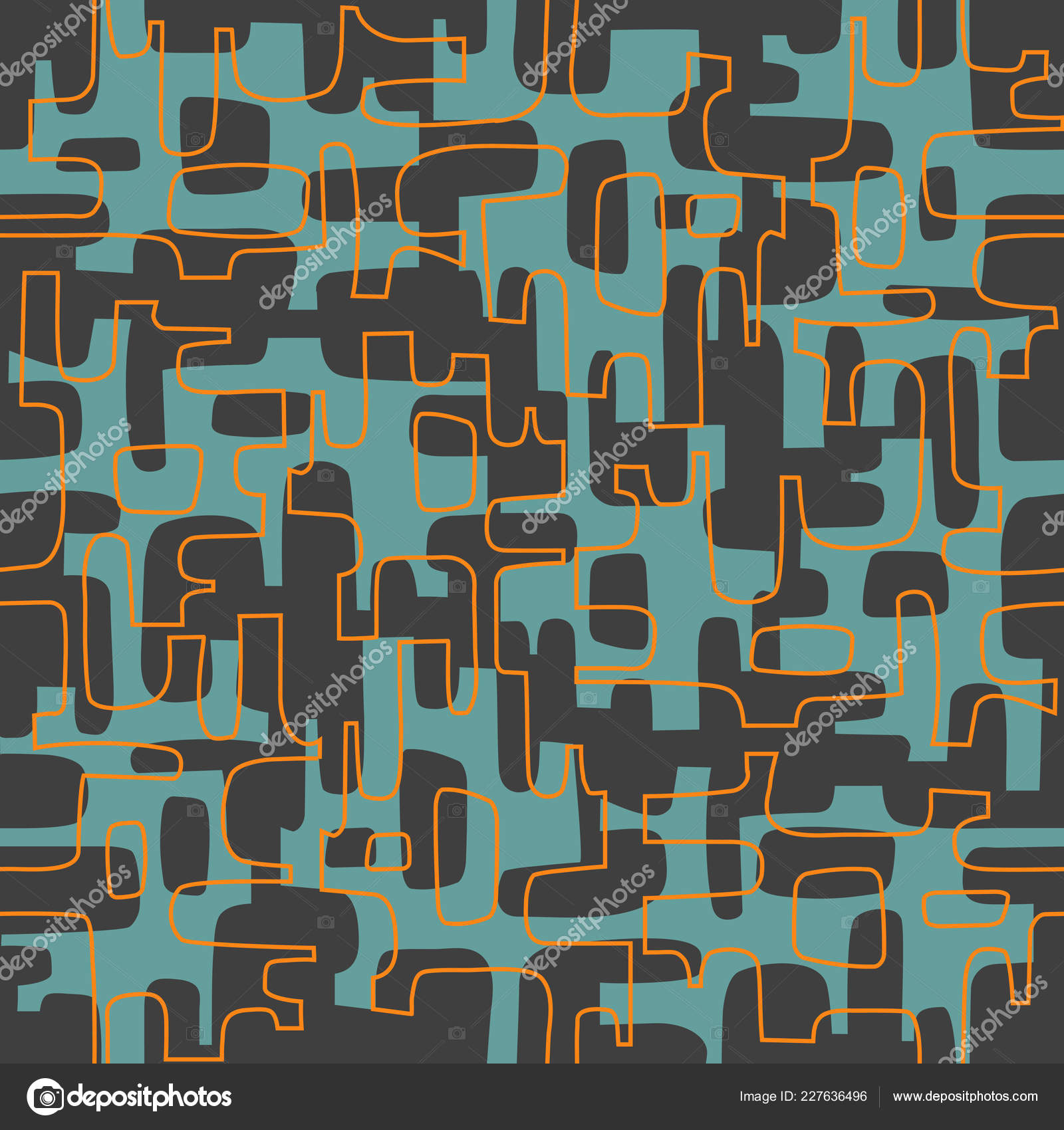 Seamless Abstract Mid Century Modern Pattern Backgrounds Fabric