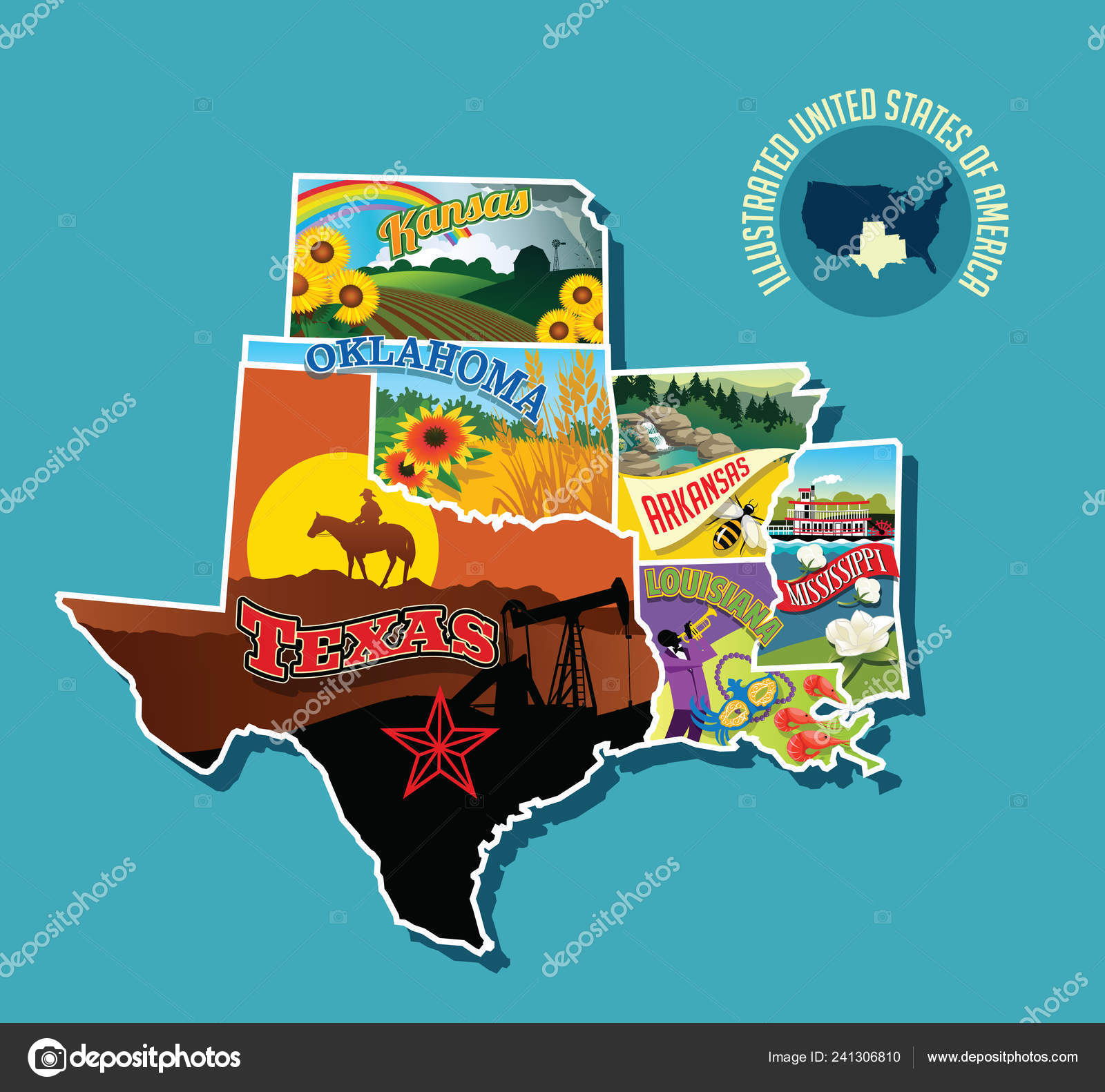 Map Of Texas Oklahoma And Louisiana.Illustrated Pictorial Map South Central United States Includes