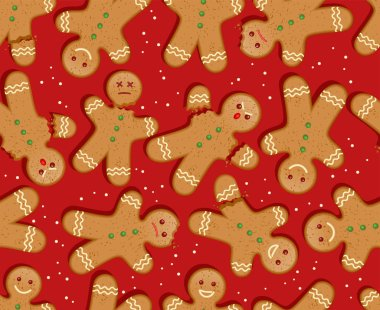 depositphotos 313601434 stock illustration seamless holiday gingerbread man pattern