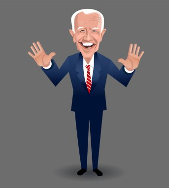 Caricature of Joe Biden, speaking and gesturing. Democratic presidential candidate  in the 2020 United States presidential election.