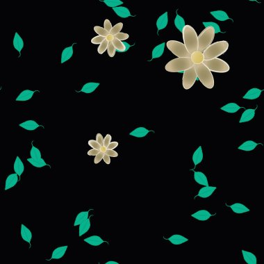 flowers with leaves seamless background, vector illustration