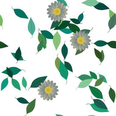 """Картина, постер, плакат, фотообои """"векторный шаблон с простыми красочными цветами и зелеными листьями одуванчики маки"""", артикул 407281190"""