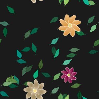 vector template with simple colorful flowers and green leaves