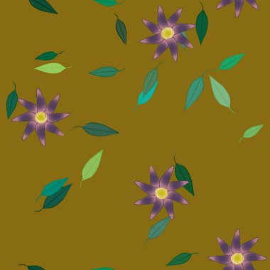 simple flowers with green leaves in free composition, vector illustration
