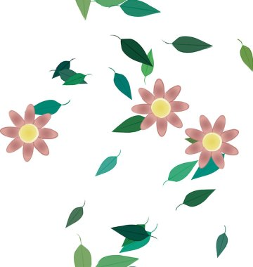 design composition with simple flowers and green leaves, vector illustration