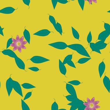"""Картина, постер, плакат, фотообои """"простые цветы с зелеными листьями в свободной композиции, векторная иллюстрация цветы орхидеи подсолнухи сакура"""", артикул 410194982"""
