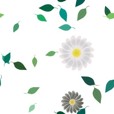 beautiful composition with simple colored flowers and green leaves at background, vector illustration