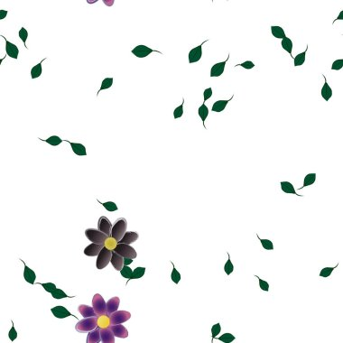 free composition with simple colorful flowers and green leaves for wallpaper, vector illustration