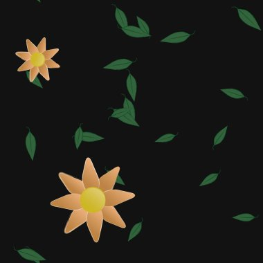 flowers with green leaves in free composition, vector illustration