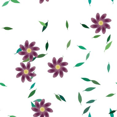 simple colorful flowers and green leaves for wallpaper, vector illustration