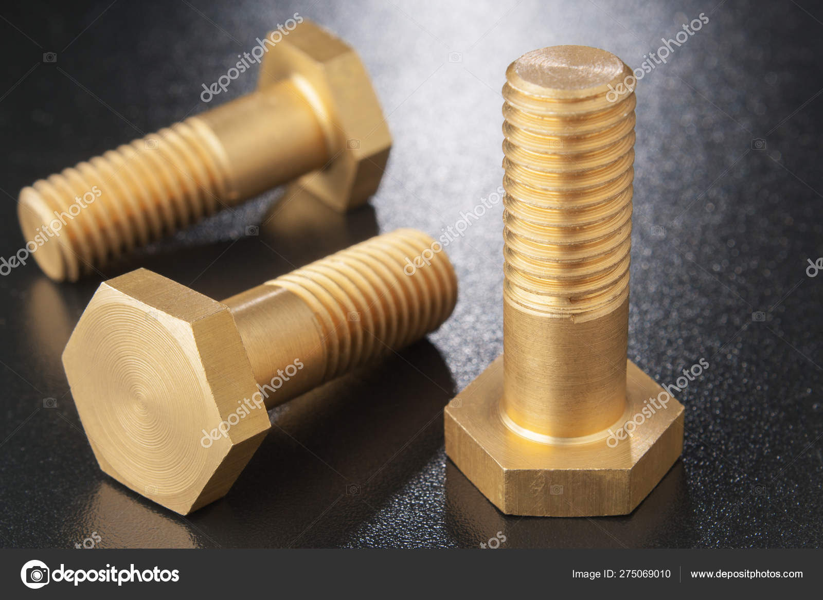 Picture of: Brass Bolts On Dark Surface Concept Of Small Part Of System Stock Photo C 85ruphoto 275069010