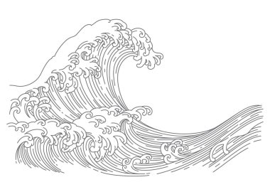 Great Japan oriental wave line art style vector illustration isolated on white background.