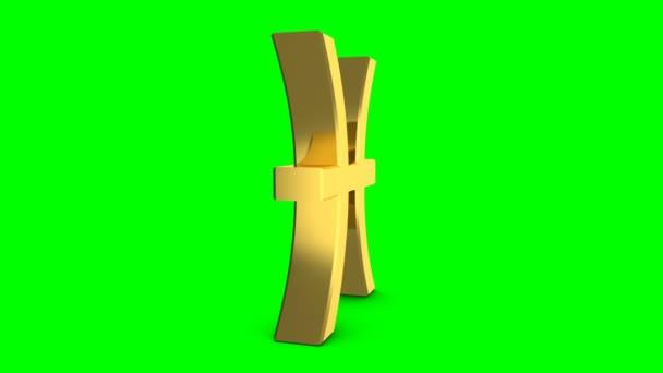 Goldene Sternzeichen der Fische. Videomaterial Sternzeichen Fische für video Intro oder Horoskop video. Goldenen Schild auf grünem Hintergrund