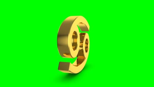 Goldene Sternzeichen Krebs. Videomaterial Sternzeichen Krebs für video Intro oder Horoskop video. Goldenen Schild auf grünem Hintergrund