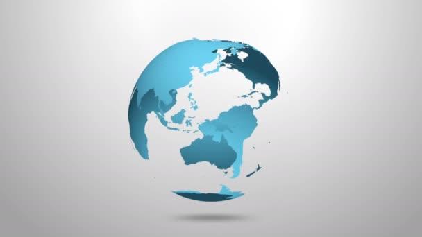 Animation der zyklischen Rotation des blauen Planeten Erde auf grauem Hintergrund. Es gibt einen Alphakanal für das Compositing. 3D-Animation