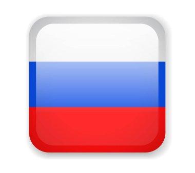Russia Flag. Square bright Icon. Vector Illustration