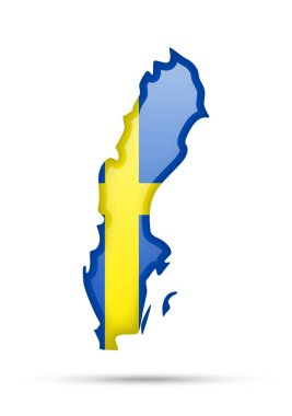 Sweden flag and outline of the country on a white background.