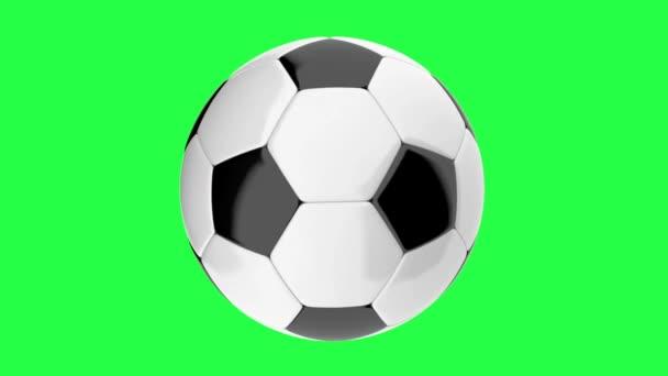 Rotující fotbalový míč opakuje animace na zeleném pozadí