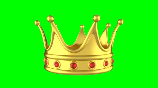 Looped animation rotating golden crown on green.
