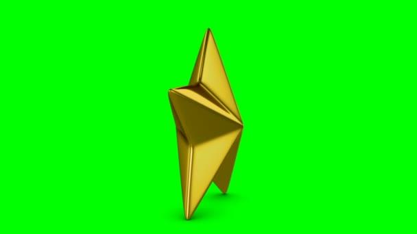 Rotující Zlatá hvězda vhodné pro slavnostní nebo hodnocení na zeleném pozadí