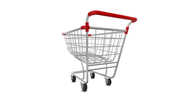 Nákupní košík supermarket na bílém pozadí, otáčení kolem osy. Alfa kanál je přítomen v animaci