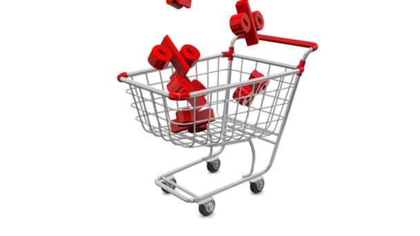 Nagy ünnep eladó-on egy leszámítol. Animált bevásárlókocsik piros százalékban a magasból.