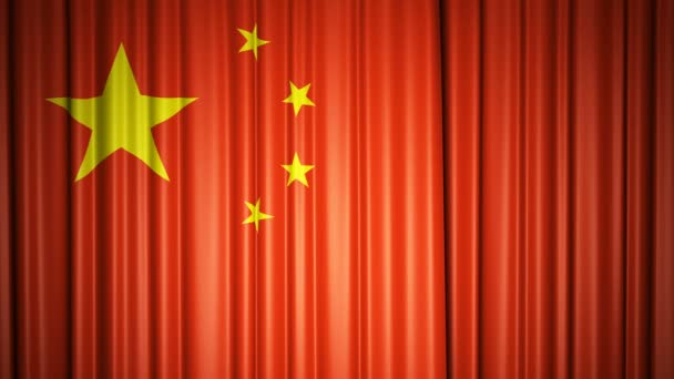 China flag. 3d animation of opening and closing curtains with flag. 4k animation with chroma key
