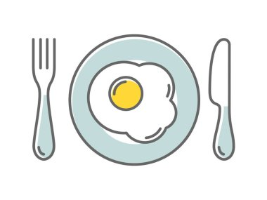 Fried egg on a plate, vector illustration icon thin style