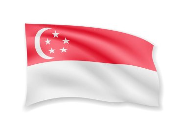 Waving Singapore flag on white. Flag in the wind.