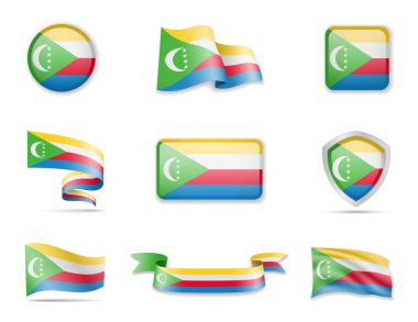 Comoros flags collection. Vector illustration set flags and outline of the country.