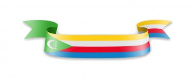 Comoros flag in the form of wave ribbon.