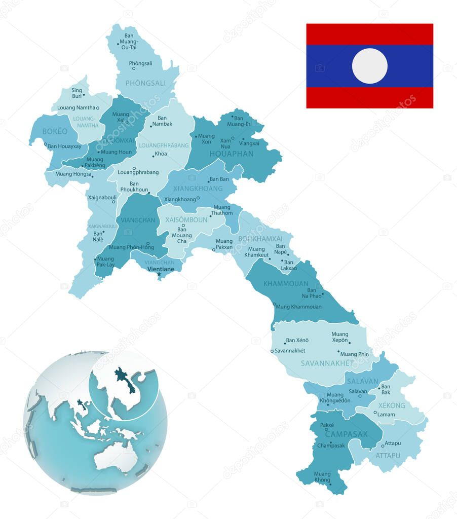 Picture of: Laos Administrative Blue Green Map With Country Flag And Location On A Globe Vector Illustration Premium Vector In Adobe Illustrator Ai Ai Format Encapsulated Postscript Eps Eps Format