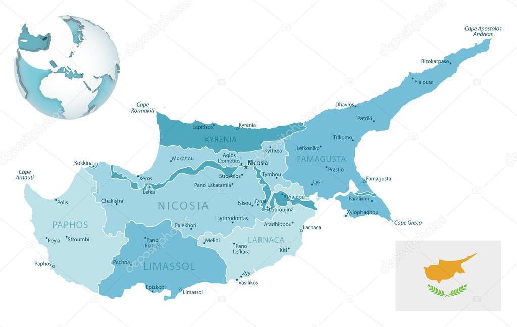 Picture of: Cyprus Administrative Blue Green Map With Country Flag And Location On A Globe Vector Illustration Premium Vector In Adobe Illustrator Ai Ai Format Encapsulated Postscript Eps Eps Format