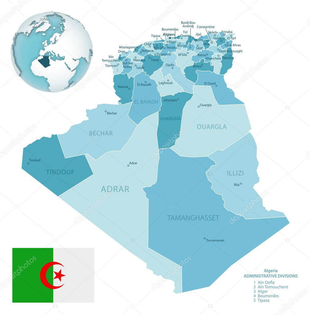 Image of: Algeria Administrative Blue Green Map With Country Flag And Location On A Globe Vector Illustration Premium Vector In Adobe Illustrator Ai Ai Format Encapsulated Postscript Eps Eps Format