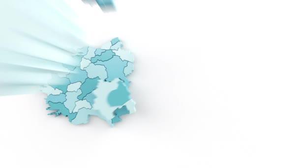 Mapa Turecka v modrozelených barvách, pohled shora. Vytvářené oddělenými plochami padajícími odshora dolů na bílém pozadí.