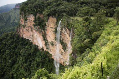 Waterfall at Chapada dos Guimares,next to the capital of Mato Grosso State. Cerrado plants, a vast tropical savanna eco region of Brazil