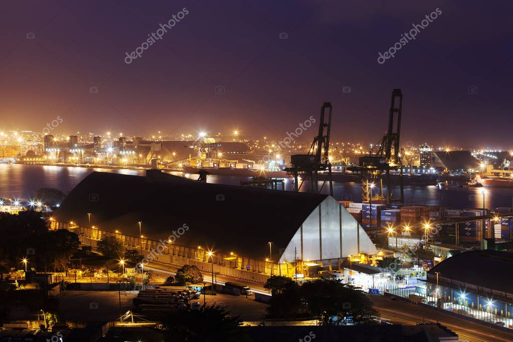 View of Santos sea port at evening stock vector